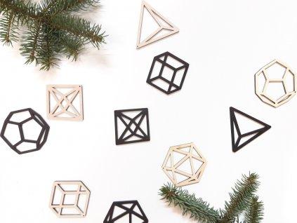 Vánoční ozdoby Shapes - Wooden moment