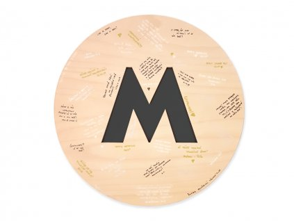 Podpisová deska S velkým písmenem - Wooden Moment