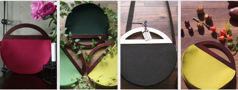 Stylové plstěné kabelky s dřevěnými uchy