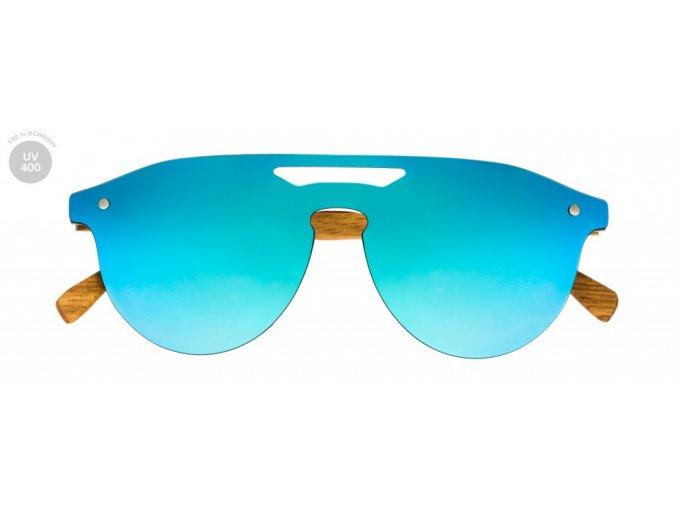 Modré sluneční dřevěné brýle