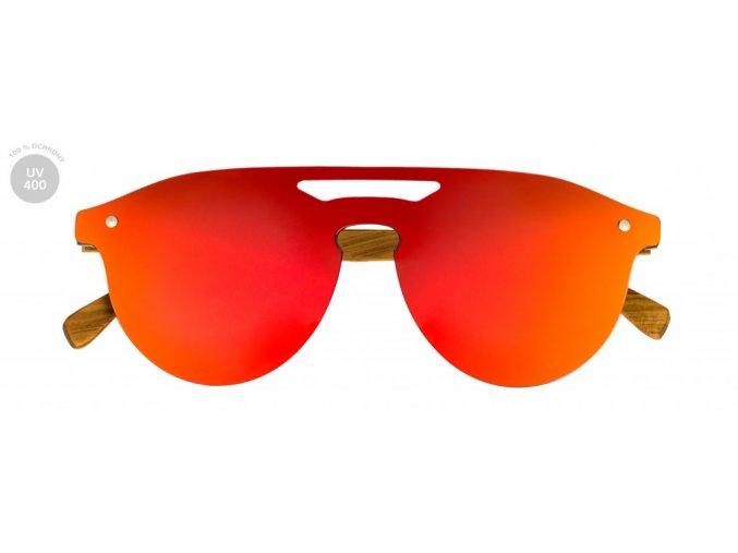 Dřevěné brýle s oranžovými skly
