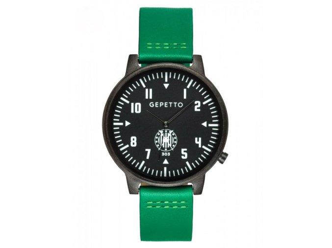 Dřevěné hodinky se zeleným páskem