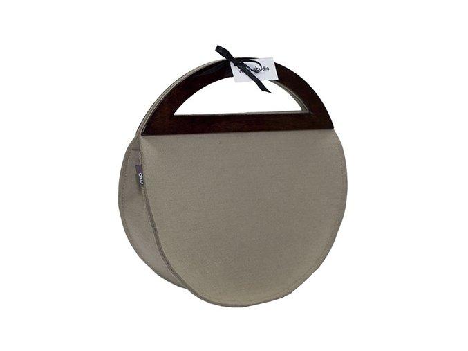 Béžová kabelka s dřevěnými uchy