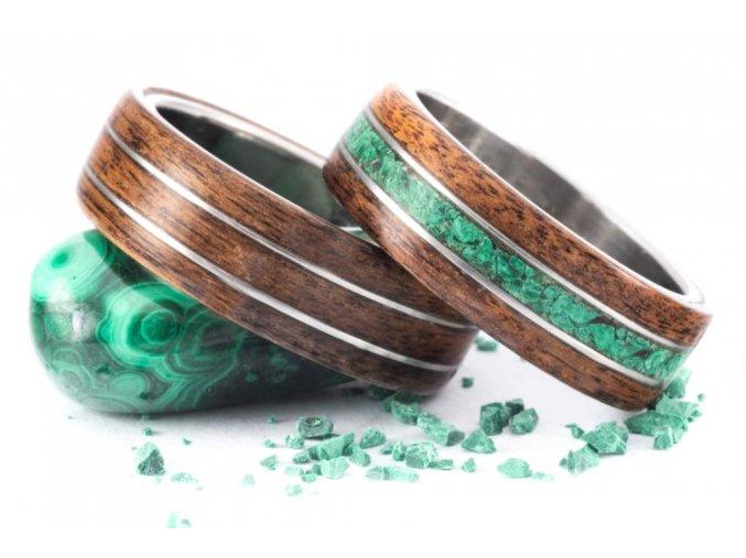 Snubní prstýnky Z-Palisandr Malachit Stainless Steel