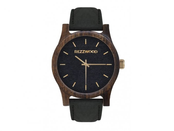 černé dřevěné hodinky