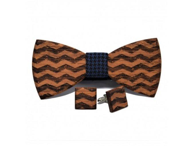 drewniana muszka i spinki do mankietow w geometryczne wzory no 2