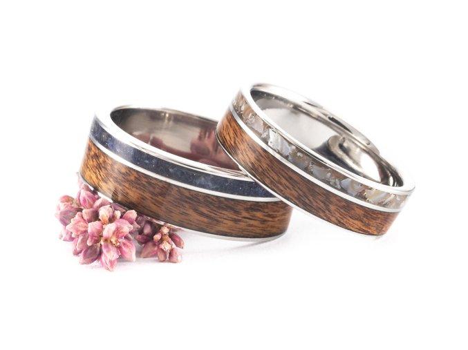 Snubní prstýnky Z-Palisandr Pearl Noc Kahiry Stainless Steel
