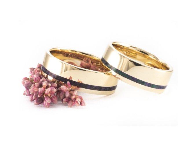 Zlaté snubní prstýnky Z-Gold Malachite Ametyst Rock