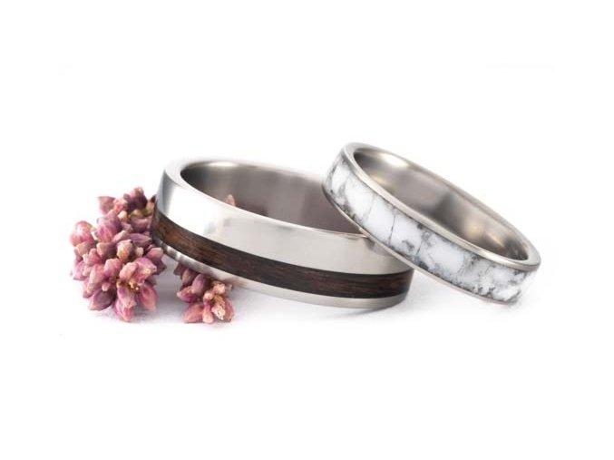 Snubní prstýnky Titanium Z-Howlit & Palisandr