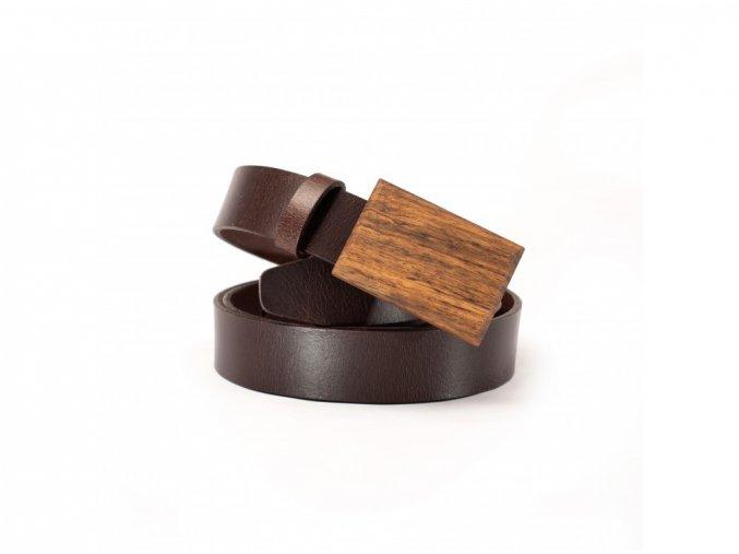 Opasek s dřevěnou sponou DM03 tmavě hnědý