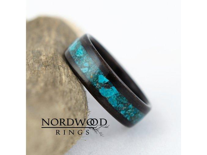 Dřevěný prstýnek Chryzokol
