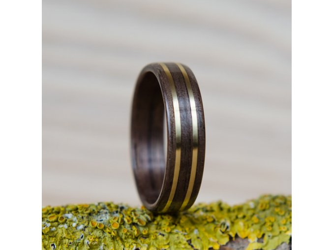 Dřevěný prstýnek DARK WALNUT & 2BRAAS