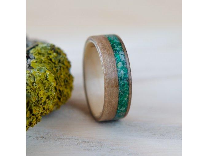 Dřevěný prstýnek SATIN WALNUT & MALACHITE