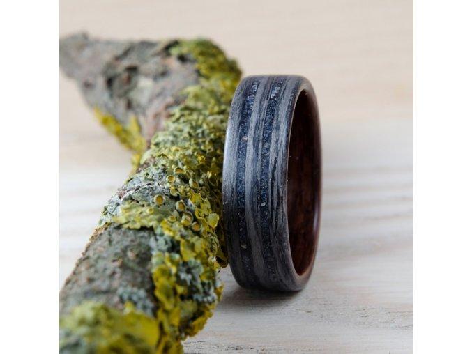 Dřevěný prstýnek GREY OAK, ROSEWOOD & BLUE GOLDSTONE