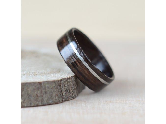 Dřevěný prstýnek EBONY & STEEL