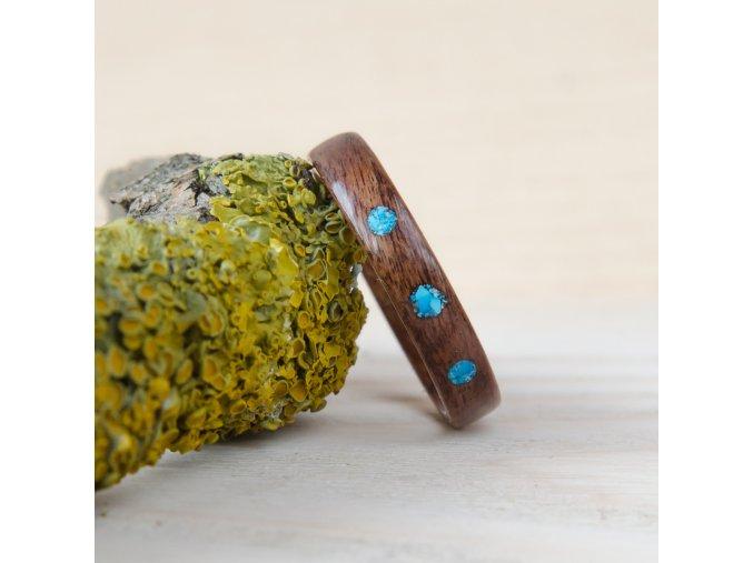 Dřevěný prstýnek ROSEWOOD & HOWLITE DOTS