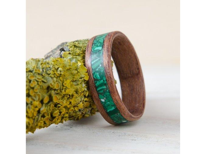 Dřevěný prstýnek MAHOGANY & MALACHITE