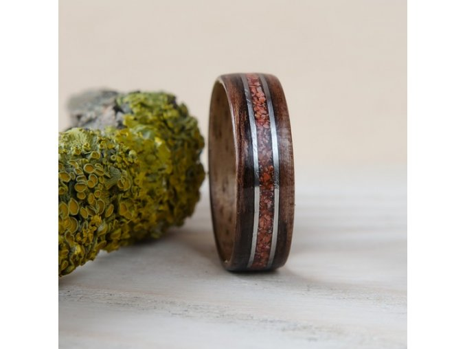 Dřevěný prstýnek EBONY, CORAL & STEEL