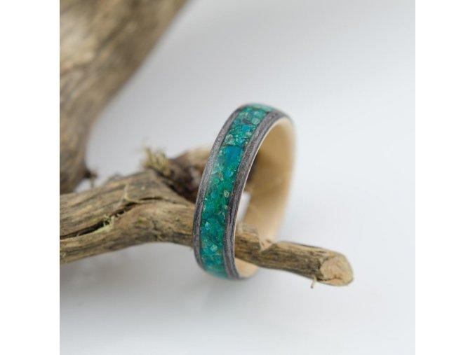 Dřevěný prstýnek GRAY OAK, BIRCH & CHRISOCOLLA