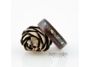 Dřevěný prstýnek PURPLE EBONY MACASSAR & ABALONE