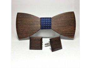 drewniana muszka ze spinkami do mankietow elegant grey