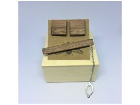 drewniane spinki do mankietow i spinka do krawata