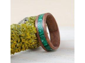 Dřevěný prstýnek MAHOGANY & MALACHITE 64 výprodej