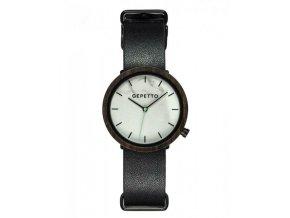 Dřevěné hodinky mramorové