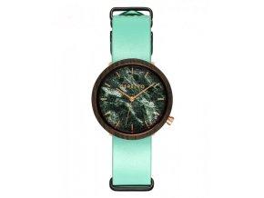 Dřevěné zelené hodinky
