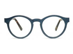 Modré dřevěné brýle