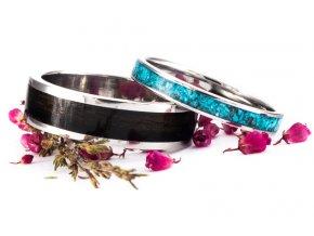 Snubní prstýnky Z-Ebony Turquoise Stainless Steel