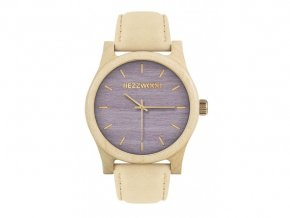 Dřevěné hodinky fialové