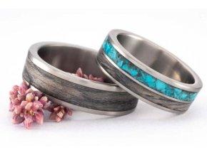 Snubní prstýnky Titanium Z-Tyrkis & Grey Oak