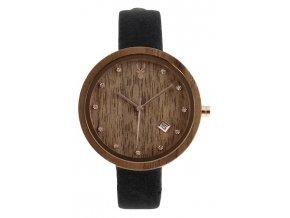 Dřevěné hodinky černý ořech