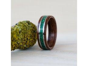 Dřevěný prstýnek ROSEWOOD, MALACHITE & STEEL