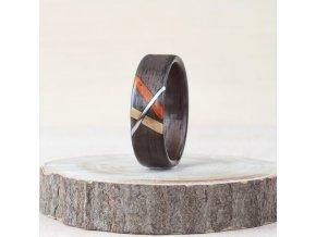 Dřevěný prstýnek DARK WALNUT & STRIPS