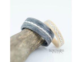 Snubní prstýnky GREY OAK BIRCH & METAL BRAID