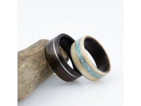 Snubní prstýnky EBONY, MAPLE, STEEL & TURQUOISE
