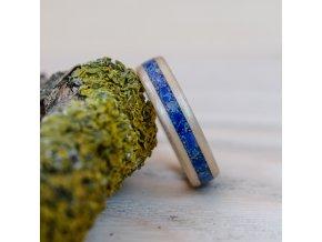 Dřevěný prstýnek BIRCH AND LAPIS LAZULI