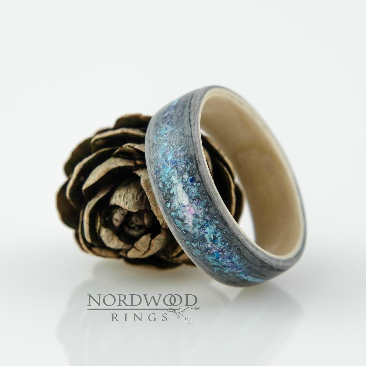 Nordwood Rings Dřevěný prstýnek GRAY OAK GALAXY NWR900/NE2