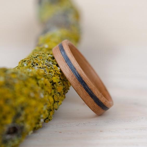 Nordwood Rings Dřevěný prstýnek CHERRY AND GREY OAK