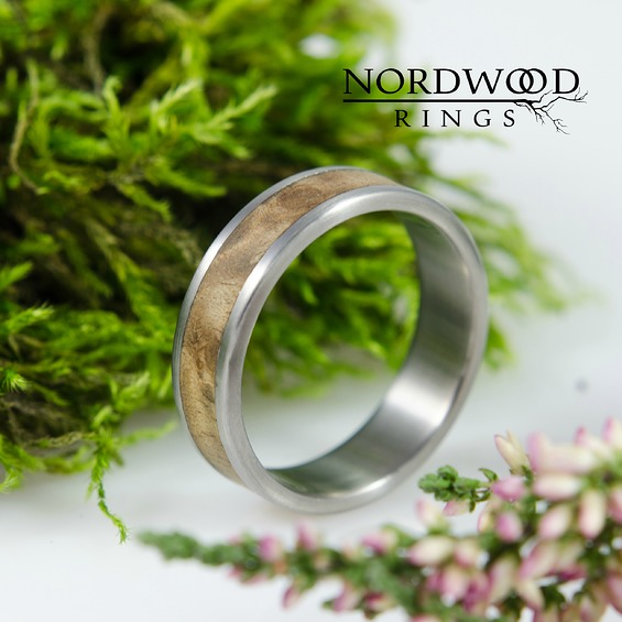 Nordwood Rings Prstýnek TITANIUM & VAVONA WOOD VÝPRODEJ