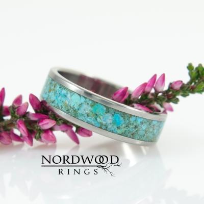 Nordwood Rings Prstýnek TITANIUM & TURQUOISE TT23