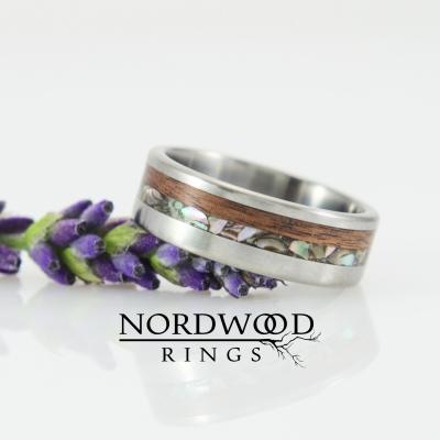 Nordwood Rings Prstýnek TITANIUM & ROSEWOOD & ABELONE