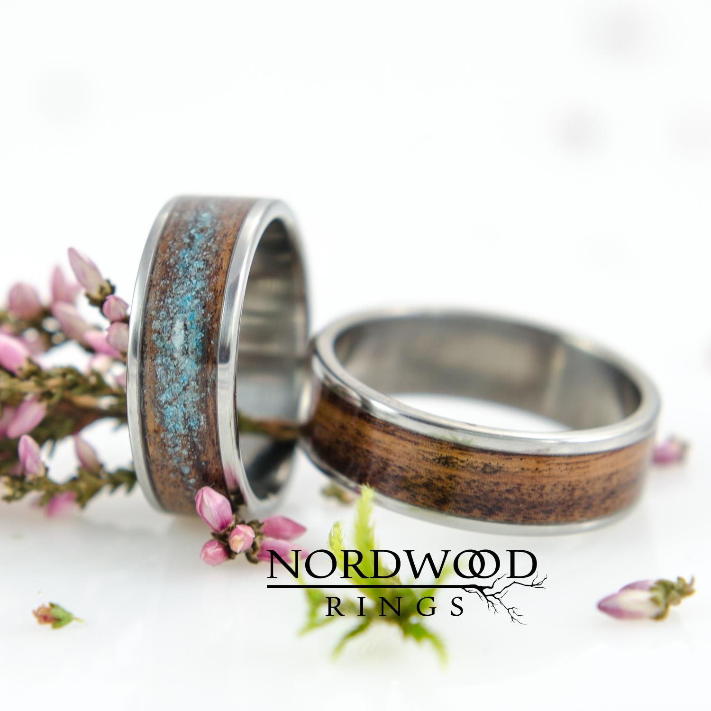 Nordwood Rings Snubní prstýnky TITANIUM & ROSEWOOD & GALAXY