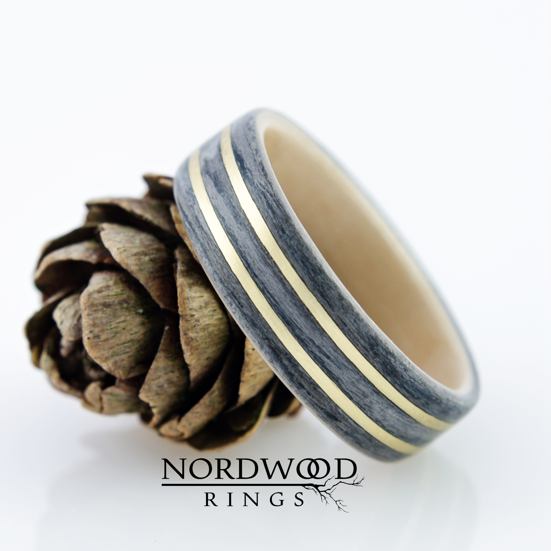Nordwood Rings Dřevěný prstýnek GREY OAK & BIRCH & BRAAS