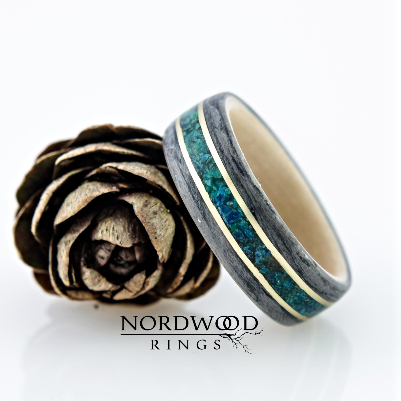 Nordwood Rings Dřevěný prstýnek GREY OAK & BIRCH & BRAAS & CHRISOCOLLA