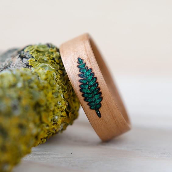 Nordwoodrings Dřevěný prsten Fern