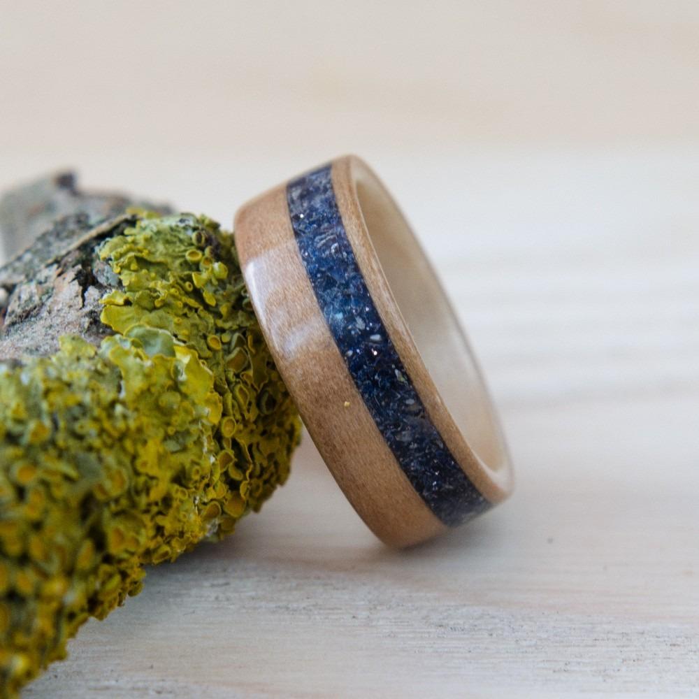 Nordwood Rings Dřevěný prstýnek SATIN WALNUT & BLUE GOLDSTONE NWR245252