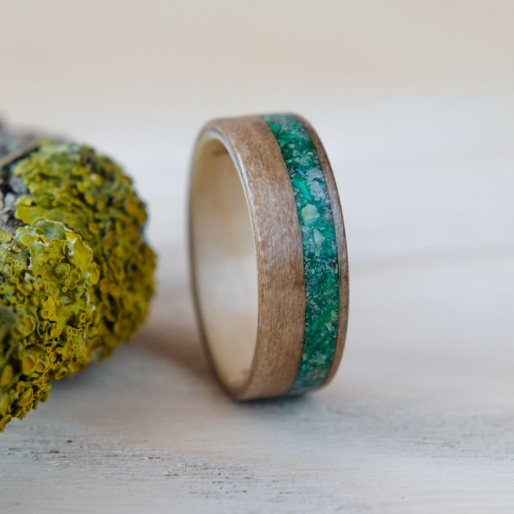 Nordwood Rings Dřevěný prstýnek SATIN WALNUT & MALACHITE NWR245251